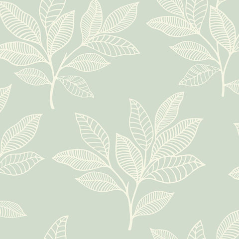 Paradise Leaves Wallpaper in Mint from the Boho Rhapsody Collection by Seabrook Wallcoverings