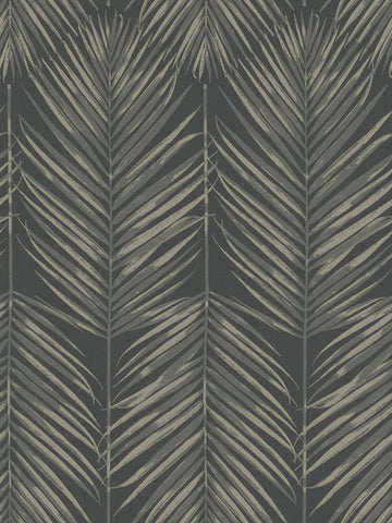 Paradise Wallpaper in Black Sands from the Beach House Collection by Seabrook Wallcoverings