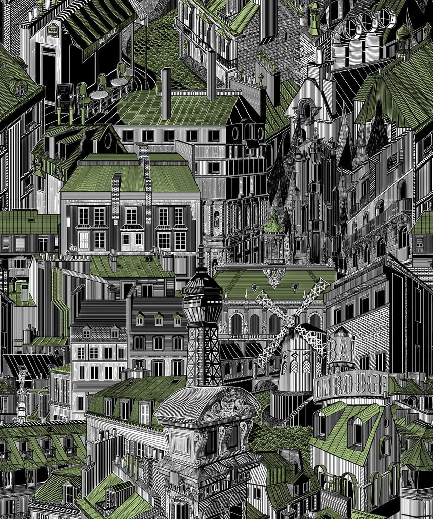 Sample Paris Rooftops Wallpaper in Patina from the Wallpaper Republic Collection by Milton & King