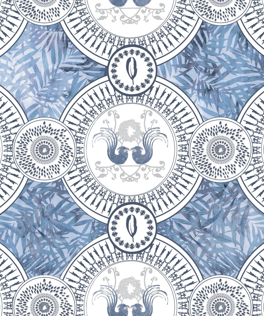 Parlour Paradiso Wallpaper (Two Roll Set) in Denim by Sixhands for Milton & King