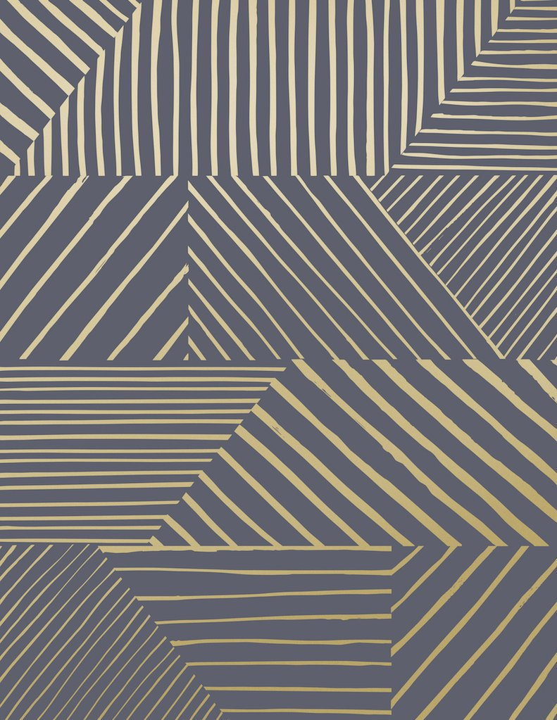 Sample Parquet Wallpaper in Gold on Charcoal design by Juju