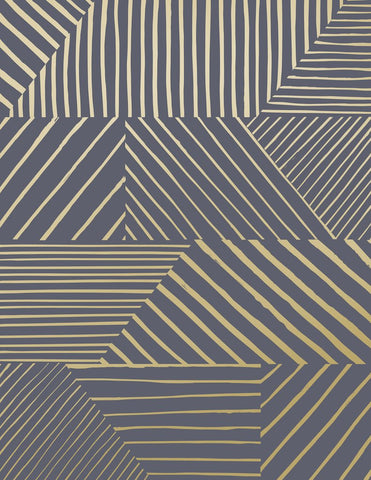 Parquet Wallpaper in Gold on Charcoal design by Juju