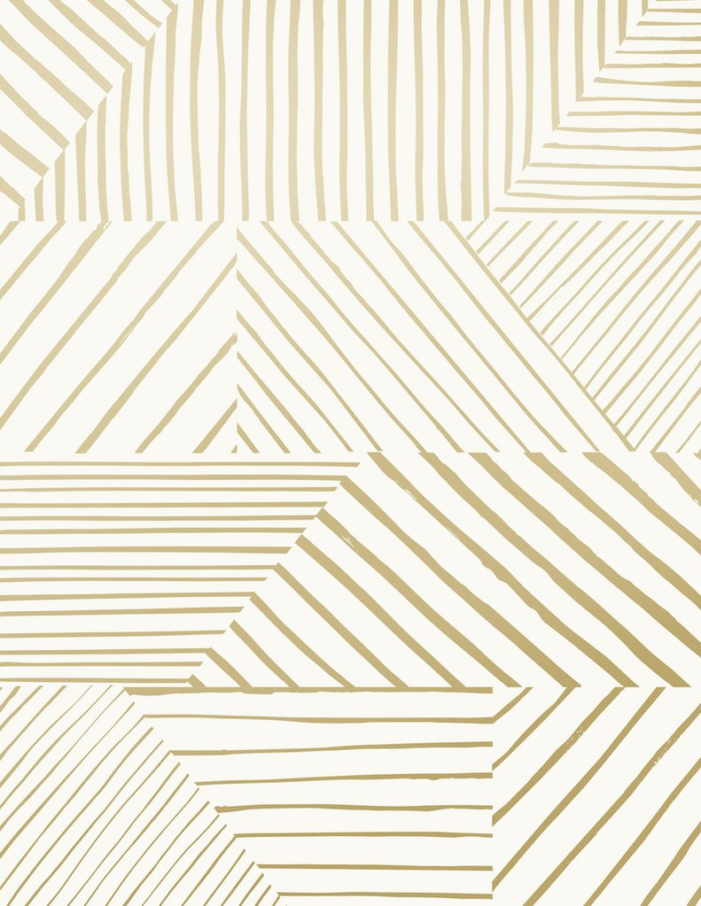Sample Parquet Wallpaper in Gold on Cream design by Juju