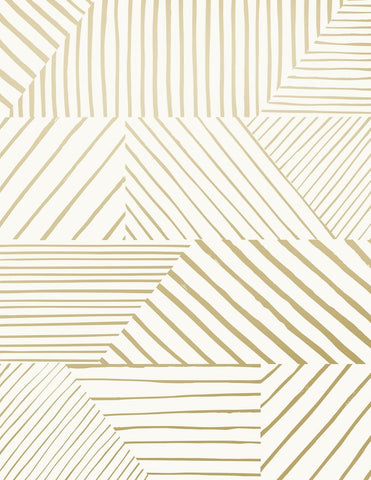 Parquet Wallpaper in Gold on Cream design by Juju