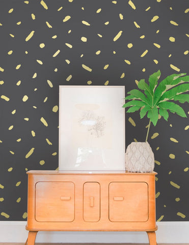 Pas de Trois Wallpaper in Gold on Charcoal design by Juju
