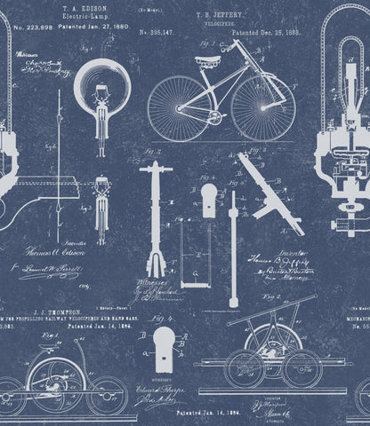 Patents Wallpaper in Blue from the Eclectic Collection by Mind the Gap
