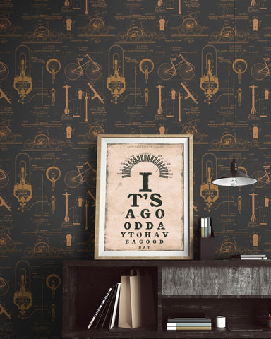 Patents Wallpaper in Brown and Copper from the Eclectic Collection by Mind the Gap