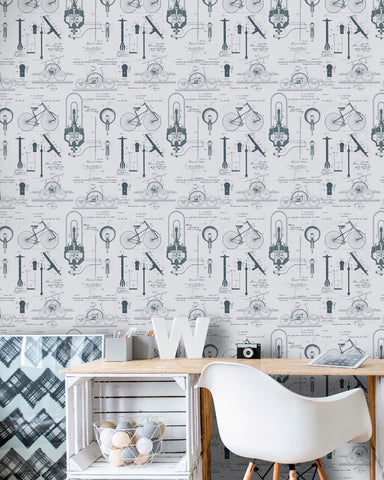 Patents Wallpaper in Grey and Blue from the Eclectic Collection by Mind the Gap