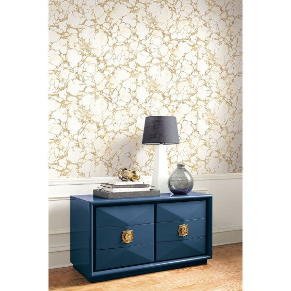 Patina Marble Wallpaper In Gold And Ivory By Seabrook