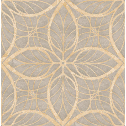 Sample Patina Wallpaper in Silver and Tan by Seabrook Wallcoverings