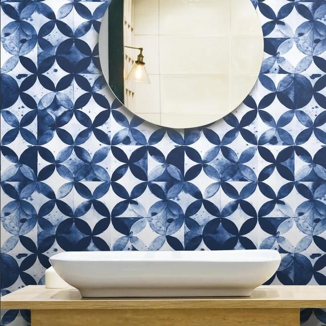 Paul Brent Moroccan Tile Peel & Stick Wallpaper in Blue by RoomMates for York Wallcoverings