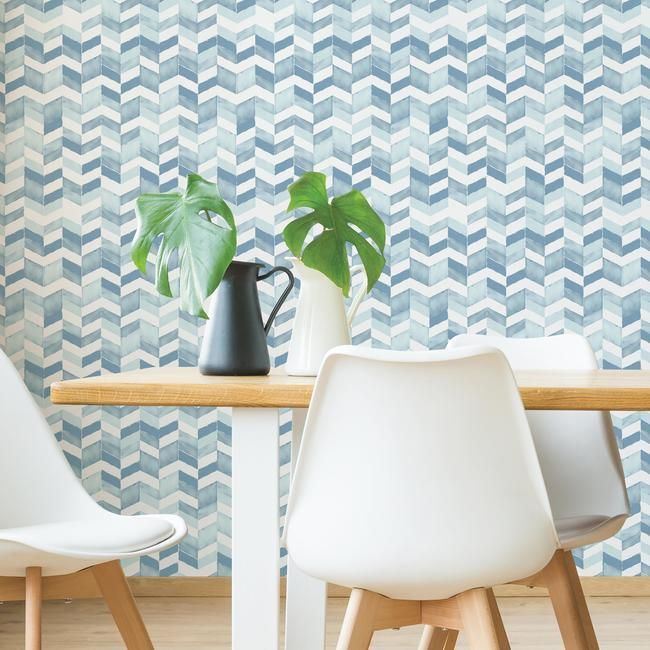 Paul Brent Watercolor Chevron Peel Stick Wallpaper In Soft Blue By R Burke Decor