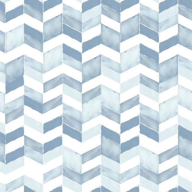 Sample Paul Brent Watercolor Chevron Peel & Stick Wallpaper in Soft Blue by RoomMates for York Wallcoverings
