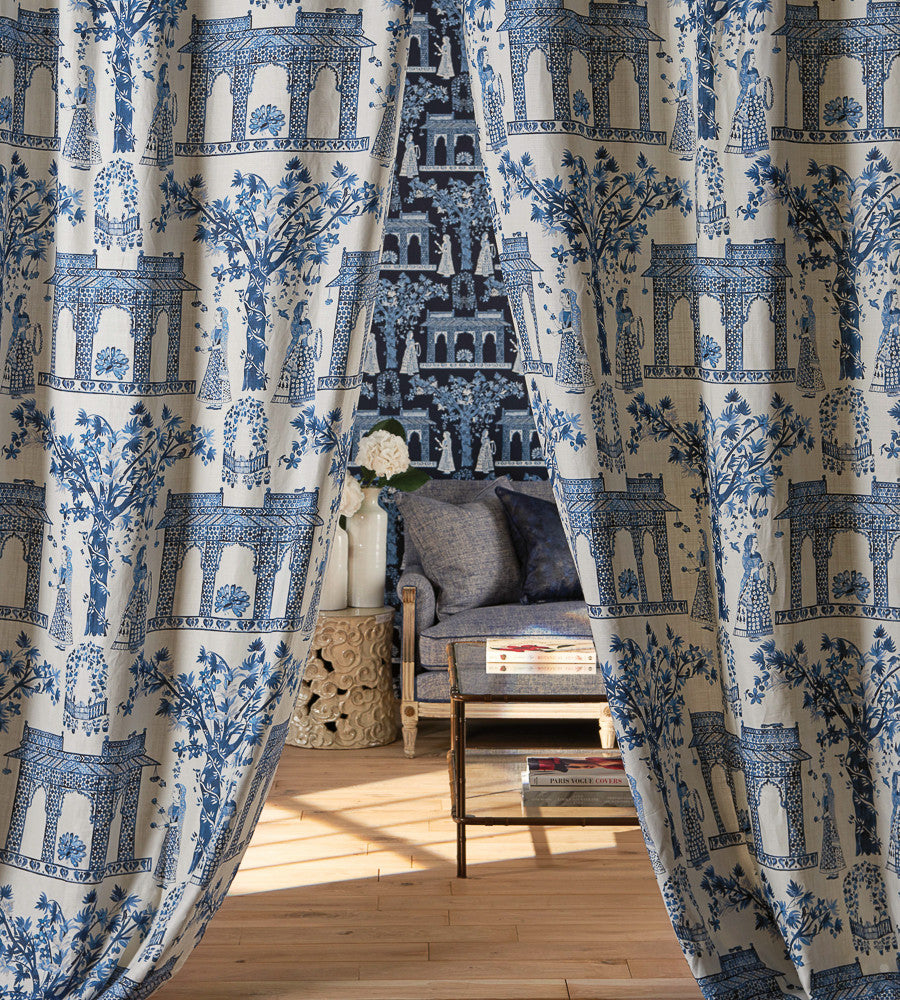 Pavilion Garden Fabric in Indigo by Nina Campbell for Osborne & Little