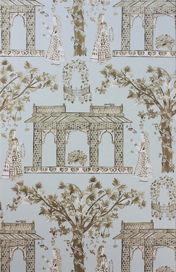 Pavilion Garden Wallpaper in Aqua and Gold by Nina Campbell for Osborne & Little