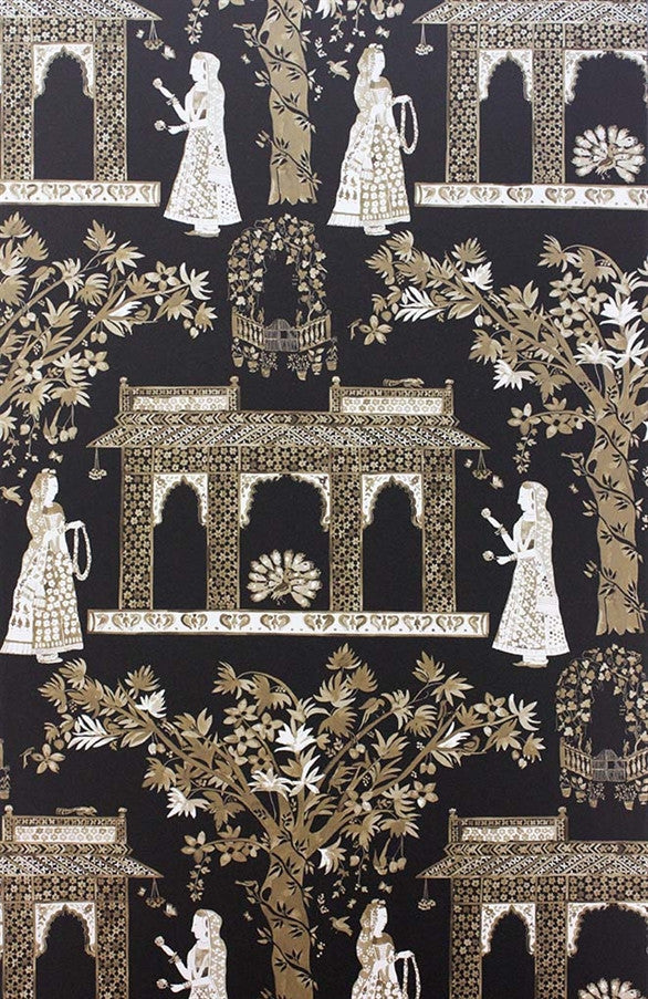 Pavilion Garden Wallpaper in Chocolate by Nina Campbell for Osborne & Little