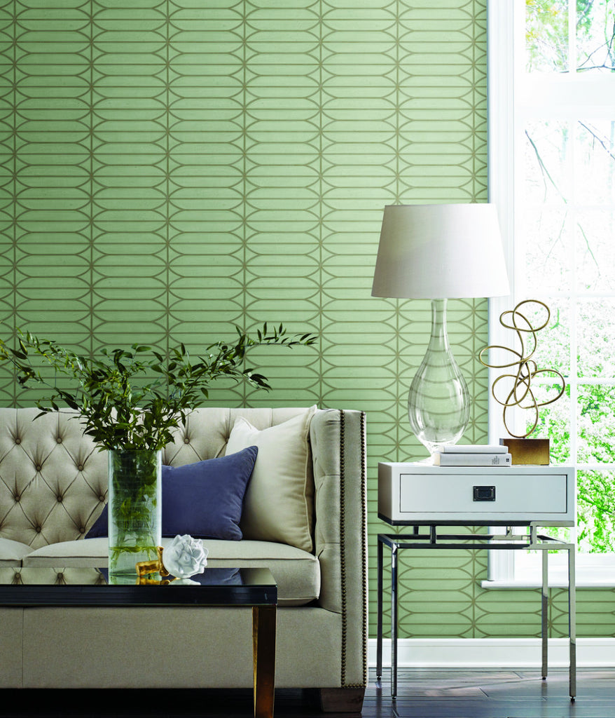 Pavilion Wallpaper in Denim from the Breathless Collection ...