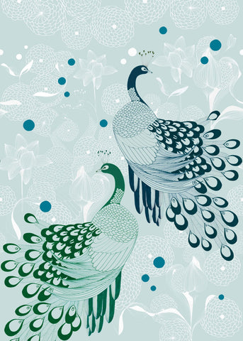 Sample Peaceful Peacocks Wall Mural in Blue by Walls Republic
