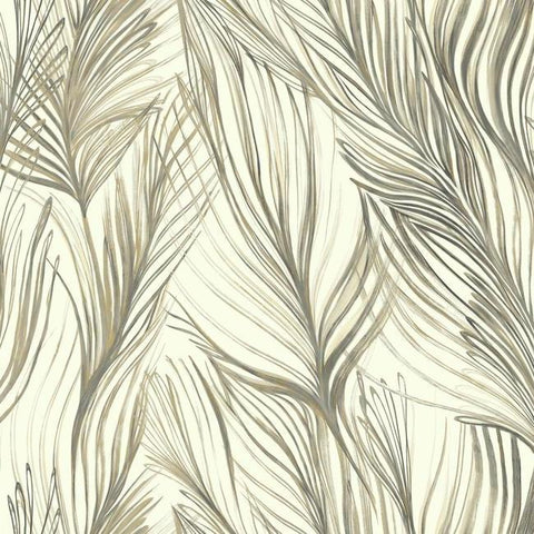 Peaceful Plume Wallpaper in Dark Grey from the Botanical Dreams Collection by Candice Olson for York Wallcoverings