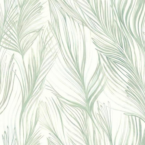 Peaceful Plume Wallpaper in Light Blue from the Botanical Dreams Collection by Candice Olson for York Wallcoverings