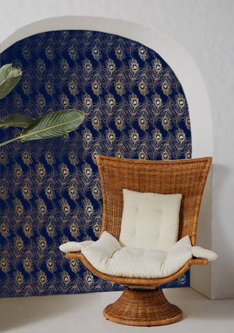 Peacock Wallpaper in Indigo on Gold by Tommassini Walls
