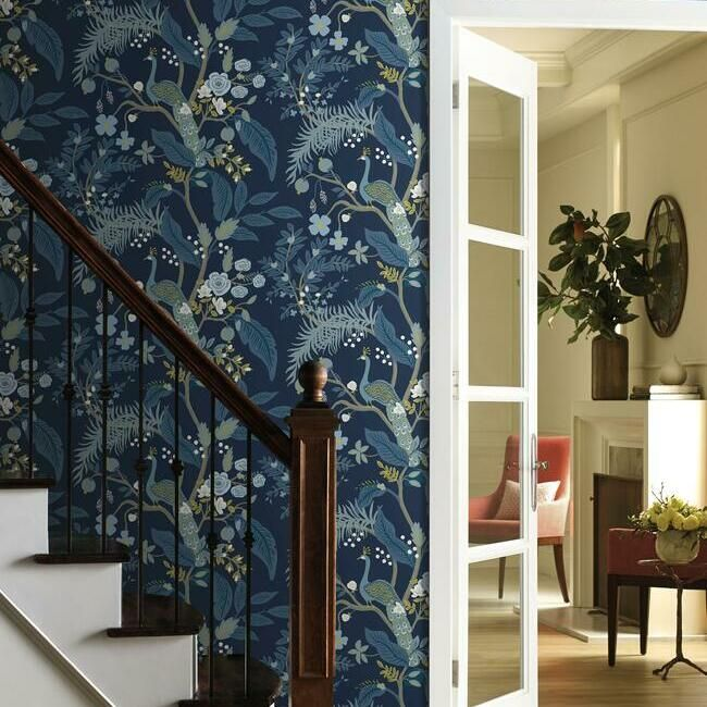 Peacock Wallpaper In Navy From The Rifle Paper Co Collection By York Burke Decor