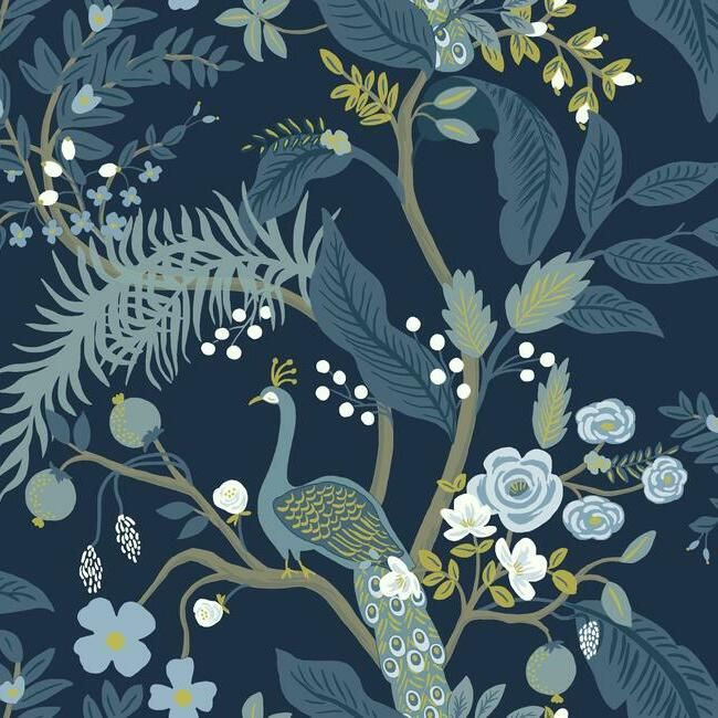 Sample Peacock Wallpaper in Navy from the Rifle Paper Co. Collection by York Wallcoverings