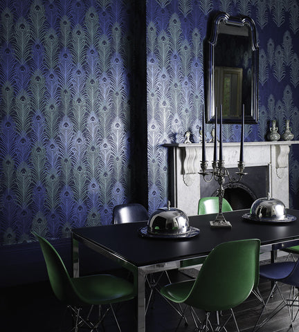 Peacock Wallpaper in Midnight and Metallic Jade by Matthew Williamson for Osborne & Little