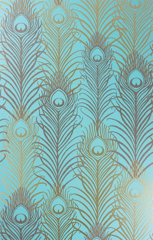 Peacock Wallpaper in Jade and Metallic Gold by Matthew Williamson for Osborne & Little