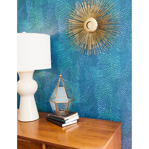 Peaks Wallpaper in Blue, Teal, and Green by Stacey Day