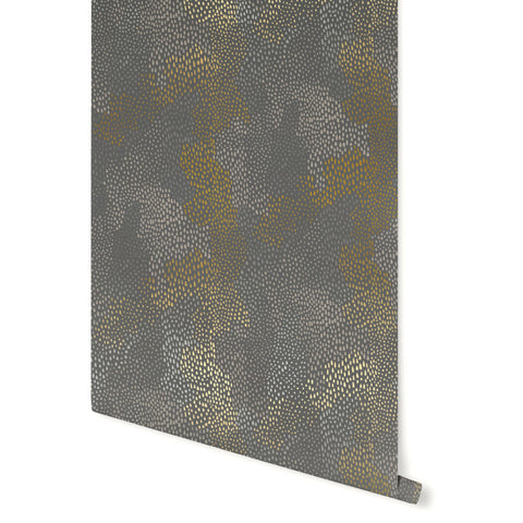 Peaks Wallpaper in Gold, Silver, and Charcoal by Stacey Day