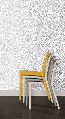 Peel Wallpaper in Silver design by Jill Malek