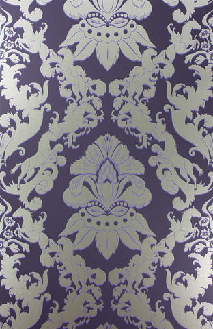 Pegasus Wallpaper in Dark Violet and Metallic Gilver by Matthew Williamson for Osborne & Little