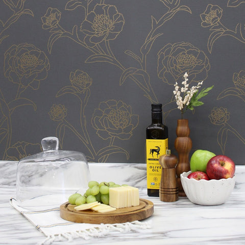 Peonies Self-Adhesive Wallpaper in Noir design by Tempaper