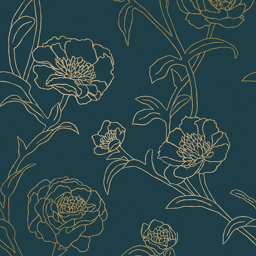 Peonies Self-Adhesive Wallpaper in Peacock Blue and Metallic Gold design by Tempaper