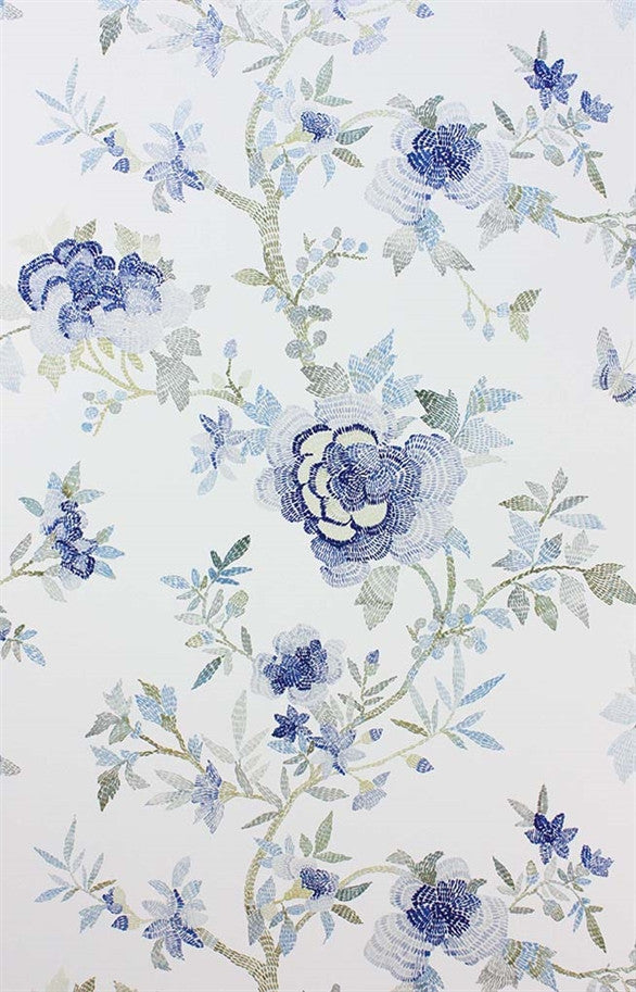 Perdana Wallpaper in Blue and Ivory by Nina Campbell for Osborne & Little