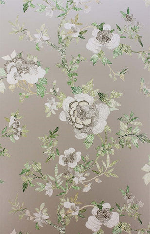 Perdana Wallpaper in Green and Gilver by Nina Campbell for Osborne & Little