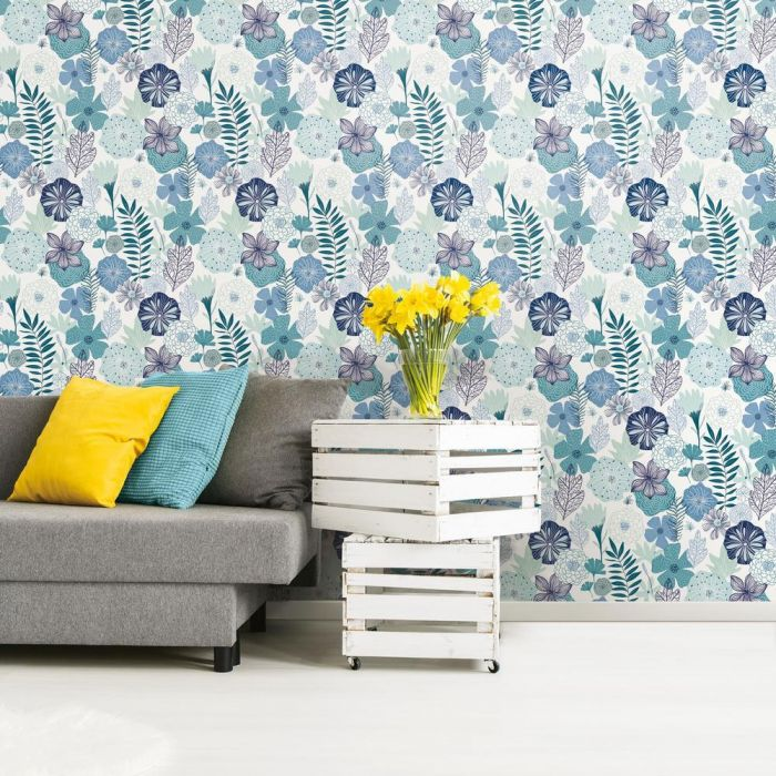 Perennial Blooms Peel & Stick Wallpaper in Blue by RoomMates for York Wallcoverings
