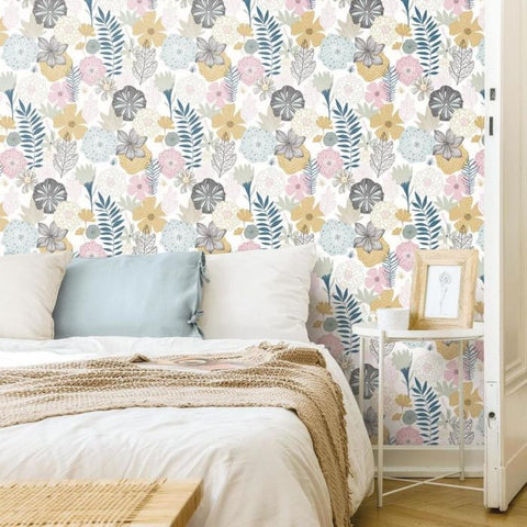 Perennial Blooms Peel & Stick Wallpaper in Jade by RoomMates for York Wallcoverings