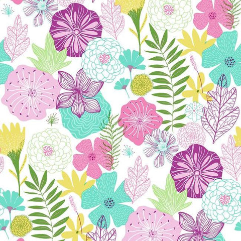 Perennial Blooms Peel & Stick Wallpaper in Purple by RoomMates for York Wallcoverings