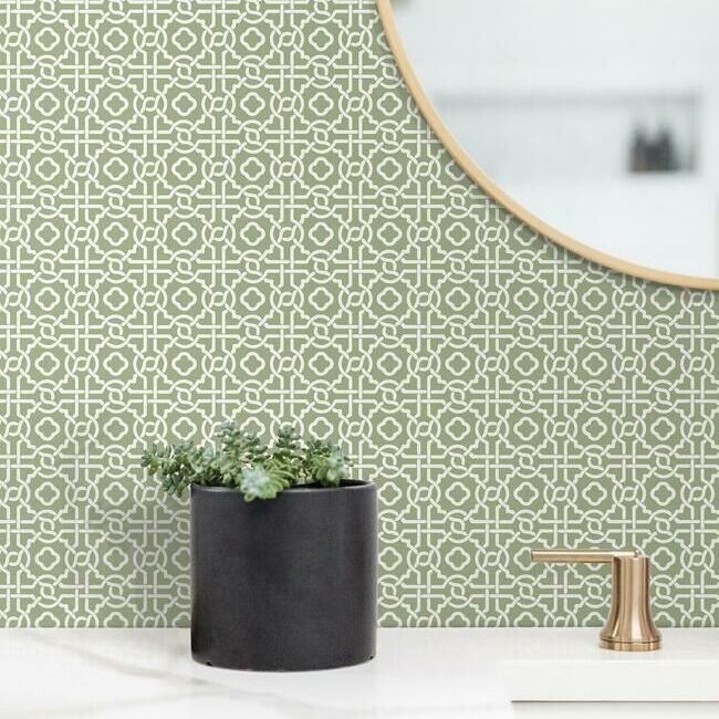 Pergola Lattice Wallpaper in Green from the Silhouettes Collection by York Wallcoverings