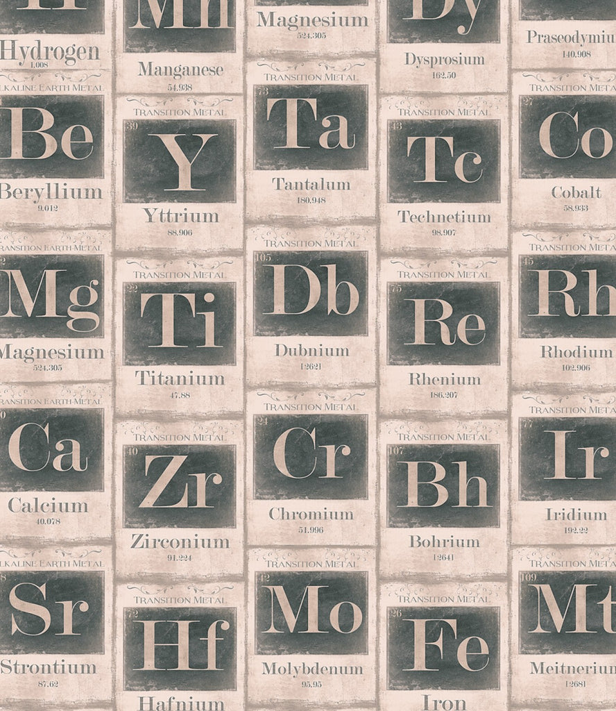 Sample Periodic Table of Elements Wallpaper in Beige and Black from the Eclectic Collection by Mind the Gap