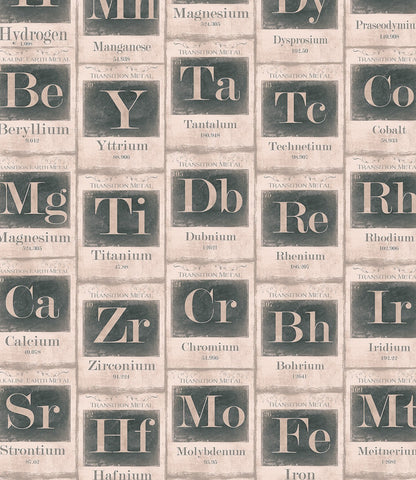 Periodic Table of Elements Wallpaper in Beige and Black from the Eclectic Collection by Mind the Gap