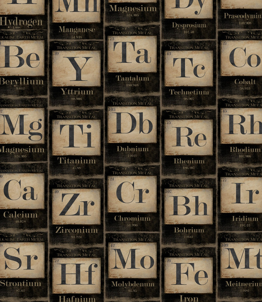 Periodic Table of Elements Wallpaper in Black and Taupe from the Eclectic Collection by Mind the Gap