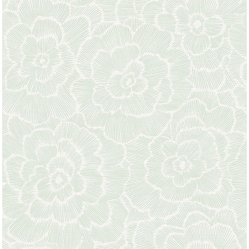 Periwinkle Textured Floral Wallpaper in Green from the Pacifica Collection by Brewster Home Fashions
