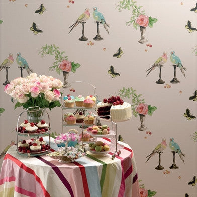 Perroquet Wallpaper in Soft Multi by Nina Campbell for Osborne & Little