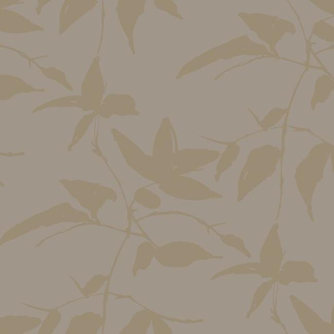 Persimmon Leaf Wallpaper in Gold and Taupe from the Tea Garden Collection by Ronald Redding for York Wallcoverings