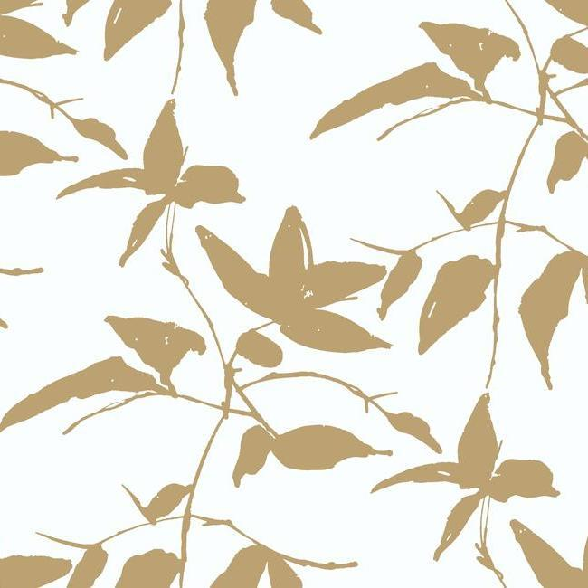 Persimmon Leaf Wallpaper in Gold and White from the Tea Garden Collection by Ronald Redding for York Wallcoverings