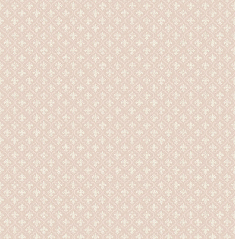 Petite Fleur de lis Wallpaper in Blush from the Spring Garden Collection by Wallquest