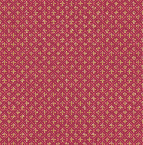Petite Fleur de lis Wallpaper in Burgundy from the Spring Garden Collection by Wallquest